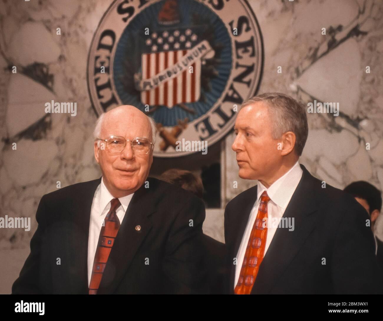 WASHINGTON, DC, USA, MARCH 3, 1998 - U.S. Senators Patrick Leahy (D-VT) left, and Orrin Hatch (R-UT) in Hart Senate Office building hearing room. Stock Photo
