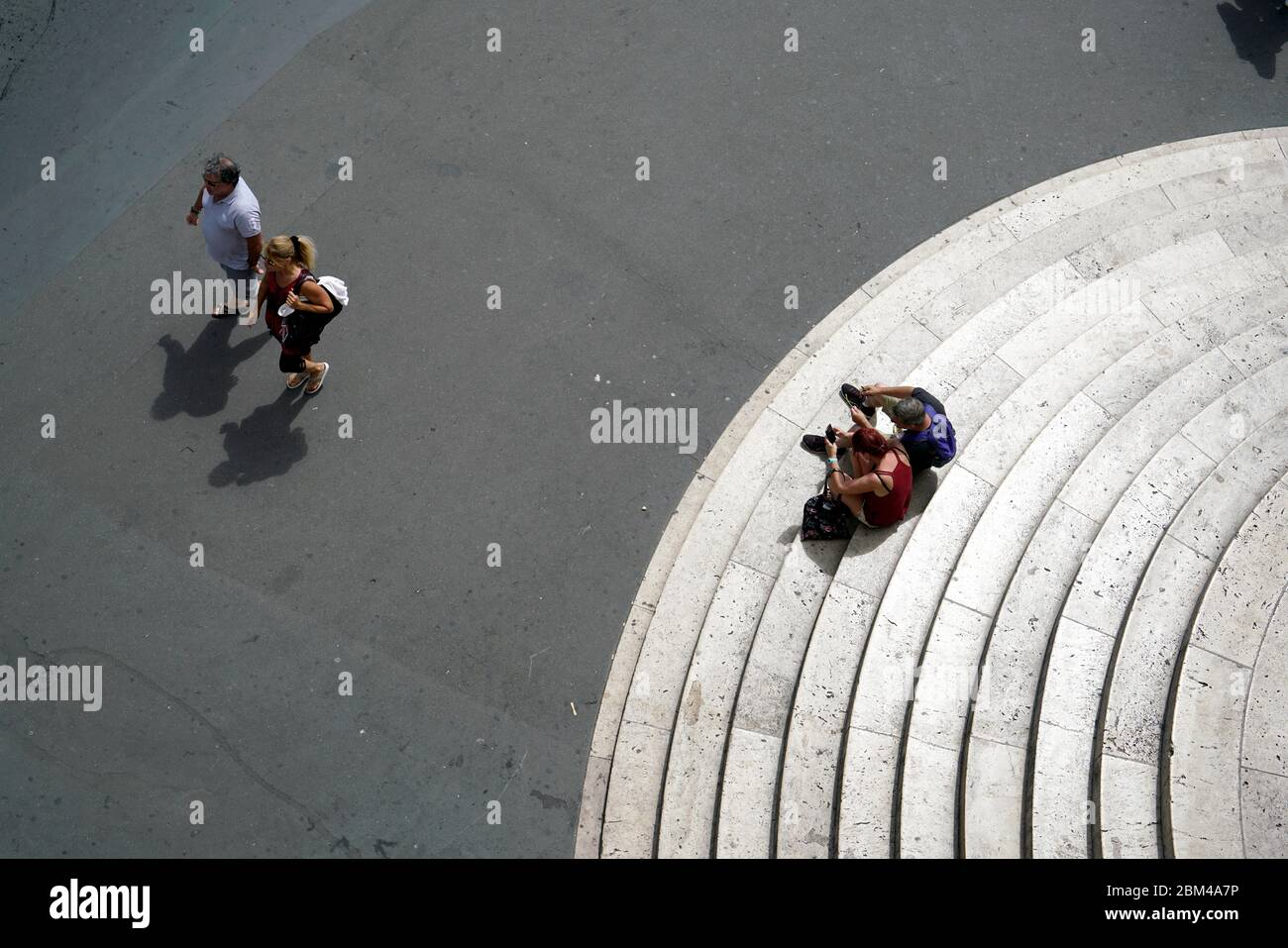Visitors resting on the staircases of Palais Garnier-Opera National de Paris.Paris.France Stock Photo
