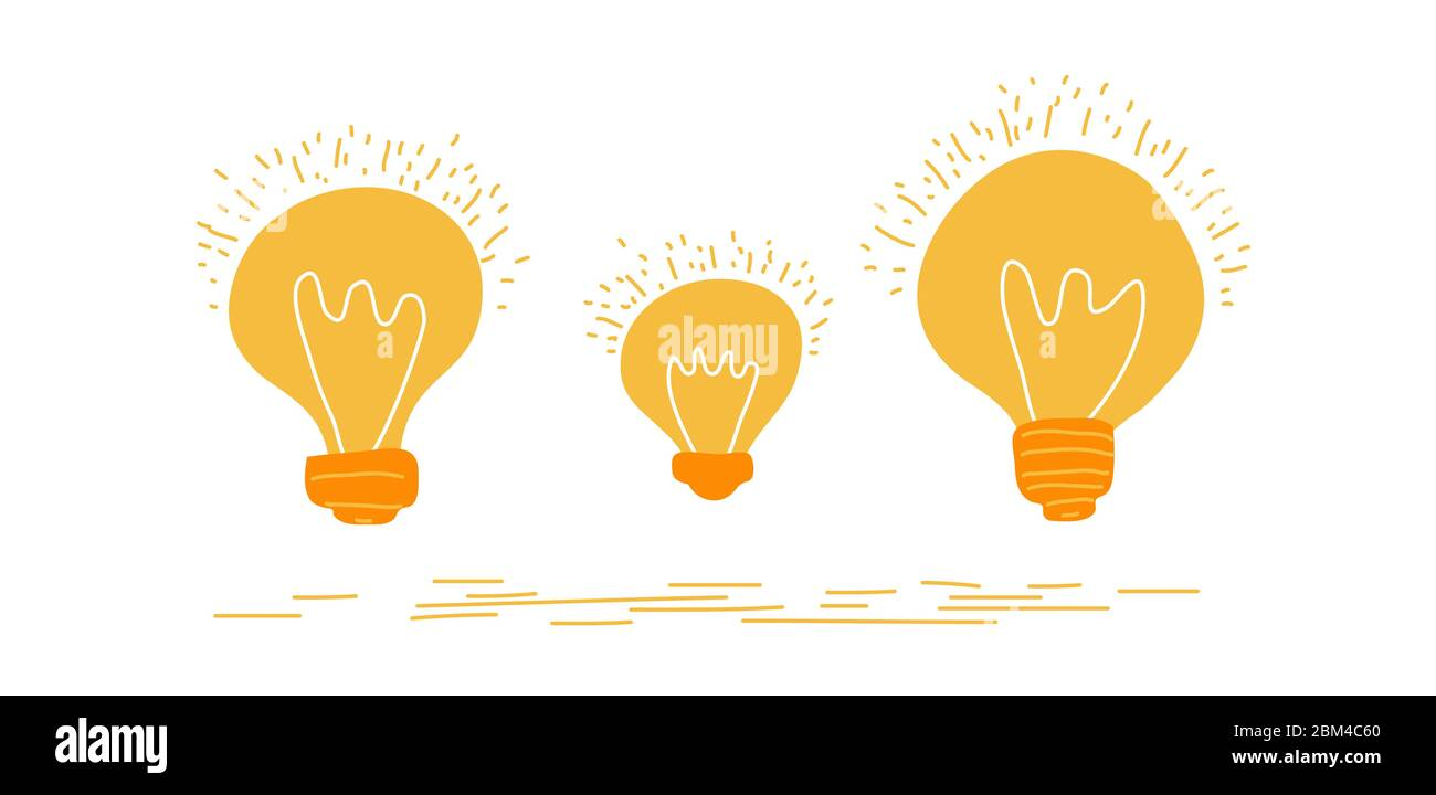 Set of hand drawn light glowing bulbs isolated on white background. Trendy flat vector light bulb icons with idea concept Stock Vector