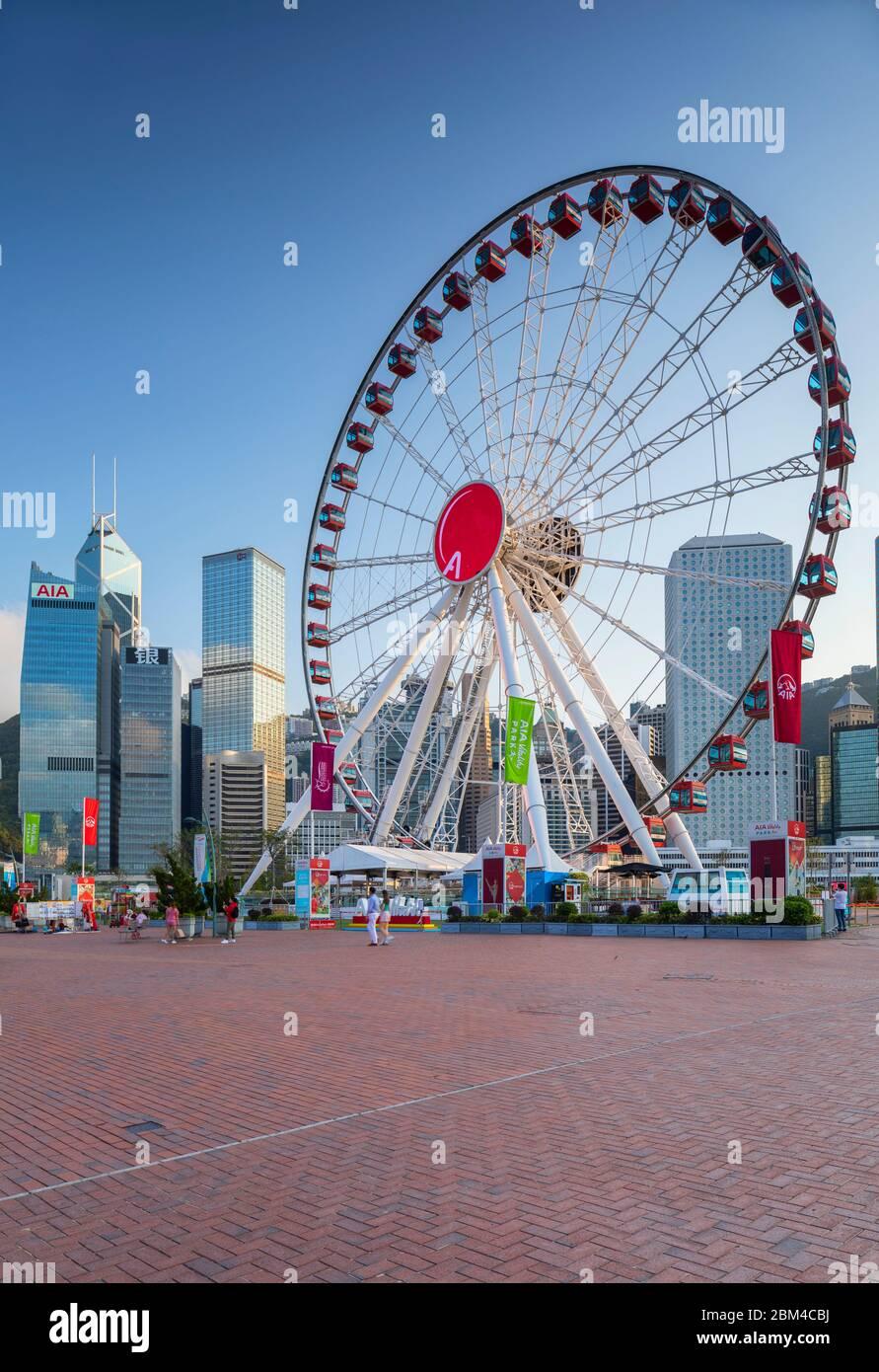 Hong Kong  Observation Wheel and skyscrapers, Central, Hong Kong Island, Hong Kong Stock Photo