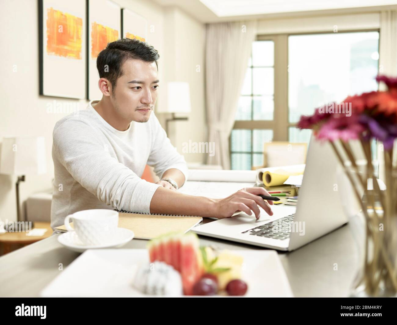 young asian businessman working from home sitting at kitchen counter looking at laptop computer (artwork in background digitally altered) Stock Photo