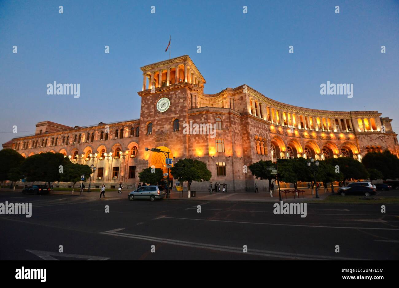Yerevan: Republic Square, Government of the Republic of Armenia building, at twilight Stock Photo
