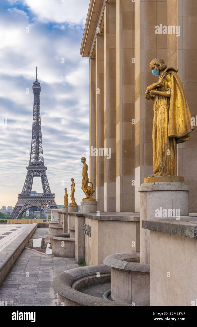 paris-france-05-06-2020-golden-statue-of