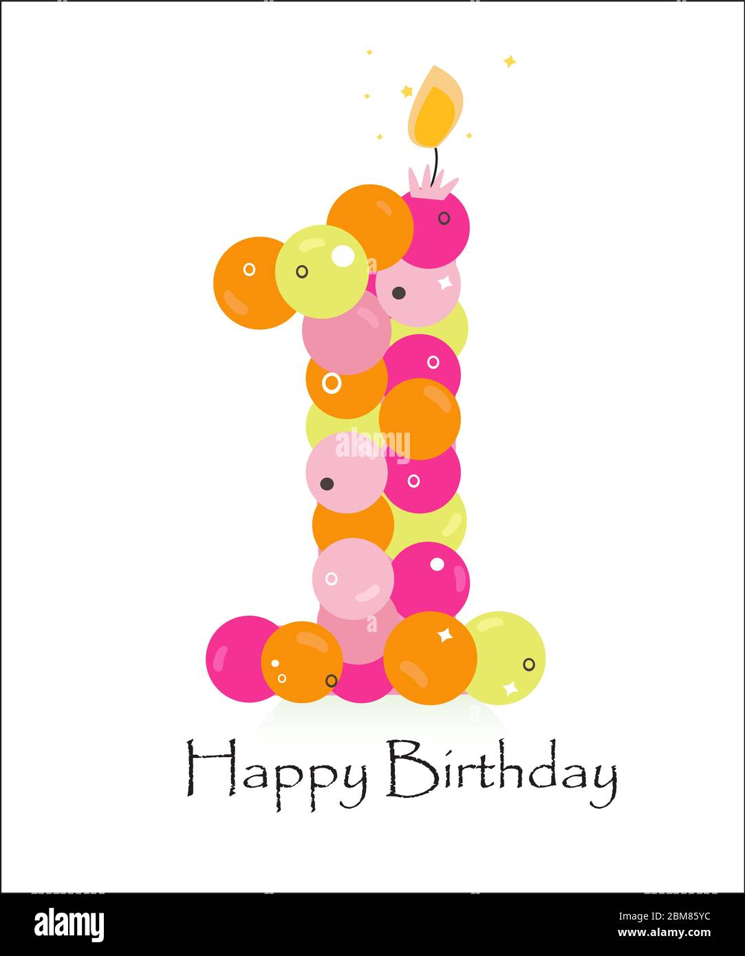 Happy first birthday card with bubble vector background Stock ...