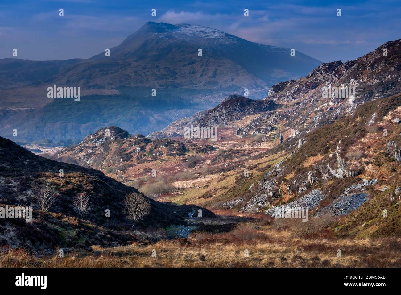 Moel Siabod from Creigiau Geuallt above Capel Curig, Snowdonia National Park, North Wales, UK Stock Photo