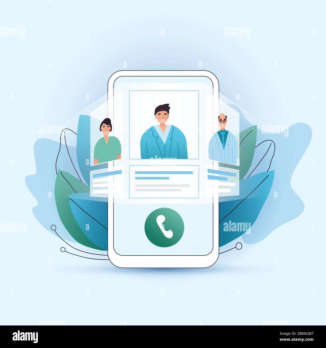 Online medical consultation vector flat concept. Choose your doctor, therapist in your smartphone. Phone screen with choosen therapist and online Stock Vector
