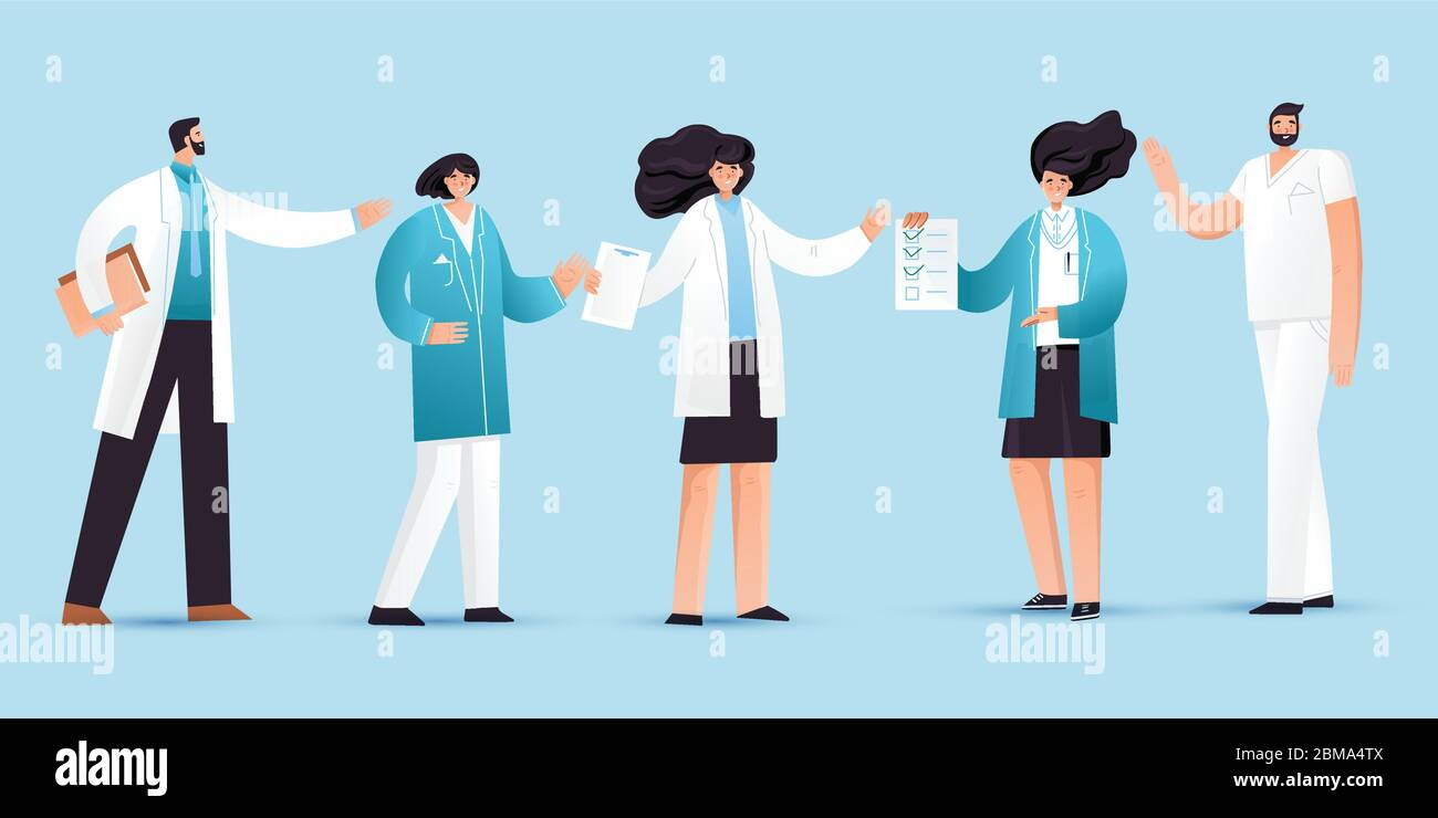 Vector flat illustration of professional medic team with pointing gestures. Cartoon doctor characters set - man, woman, nurses and doctors Stock Vector
