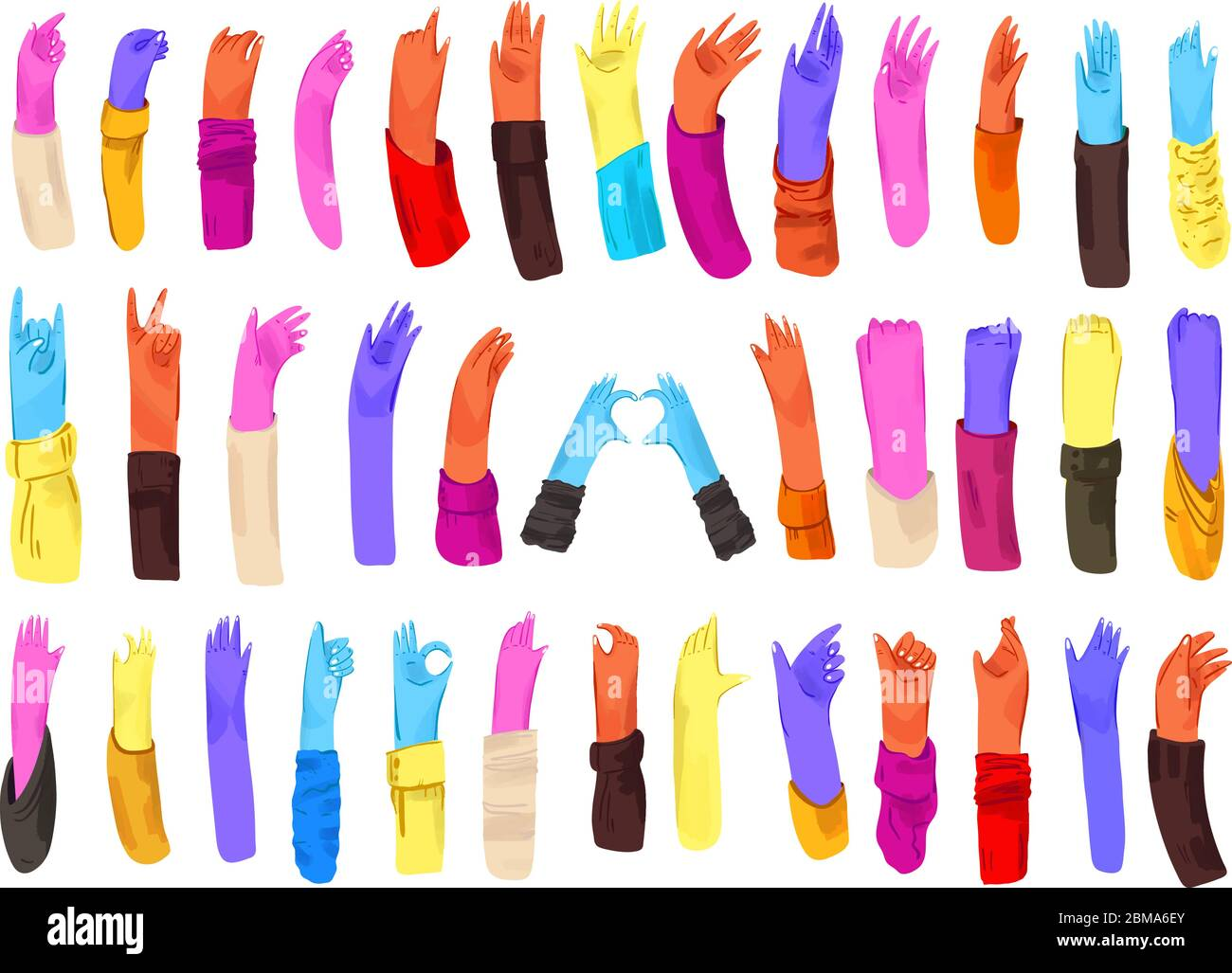 Human bright colored hands with collection of signs and hand gestures - ok, love, greetings, waving hands, phone and app control with fingers, fist up Stock Vector