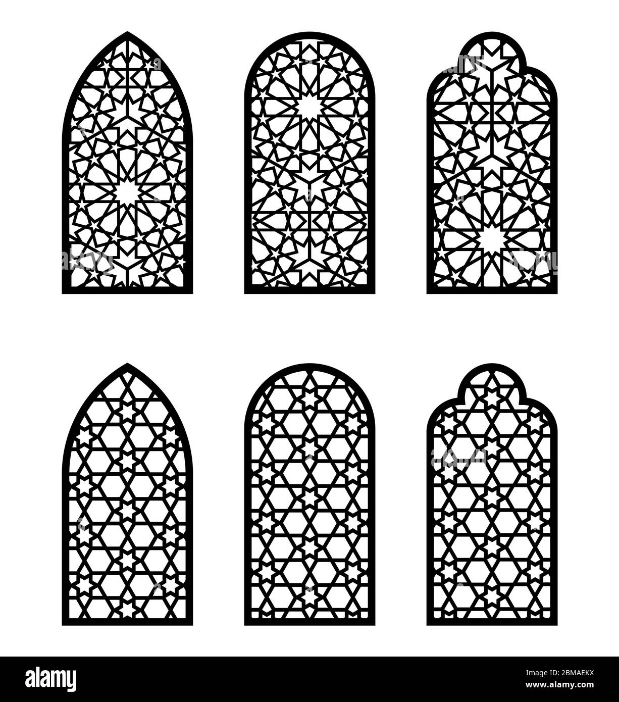 Arabic Arch Window Or Door Set Cnc Pattern Laser Cutting Jali Design Vector Template Set For Wall Decor Hanging Stencil Engraving Stock Vector Image Art Alamy