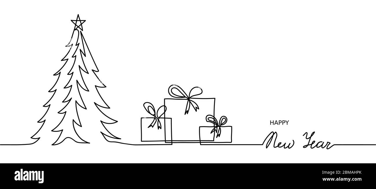 Minimal Happy New Year Web Banner Background One Continuous Line Drawing New Year Simple Banner With Christmas Tree And Presents Gifts Boxes Stock Vector Image Art Alamy
