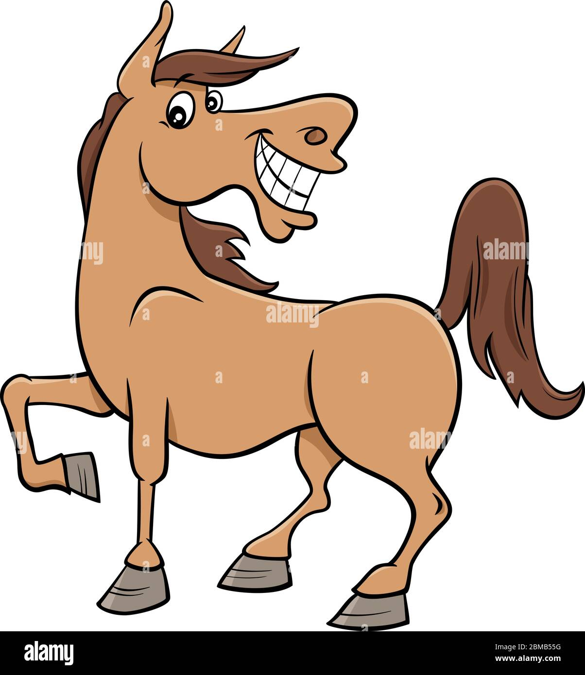 Cartoon Illustration Of Happy Horse Farm Comic Animal Character Stock Vector Image Art Alamy