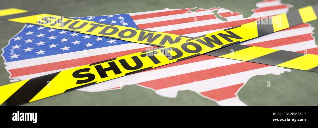 Shutdown, USA, US, Corona, Coronavirus, Government, Shut down, Haushaltssperre, social distancing, Government Shutdown, Vereinigte Staaten, Shut down, Stock Photo