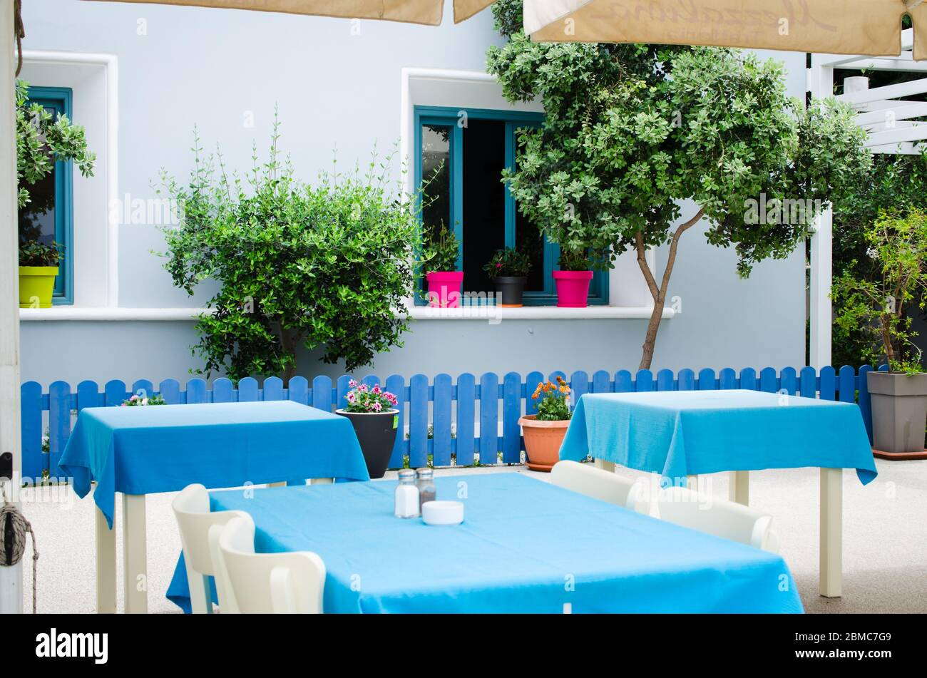 Cozy Summer Cafe Tables And Chairs On Outdoor Terrace Empty Street Cafe Or Restaurant Stock Photo Alamy
