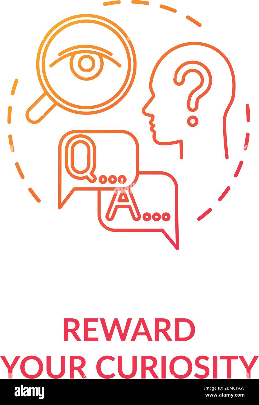 Reward your curiosity concept icon. Self motivating, indulging yourself idea thin line illustration. Personal development, self improvement. Vector is Stock Vector