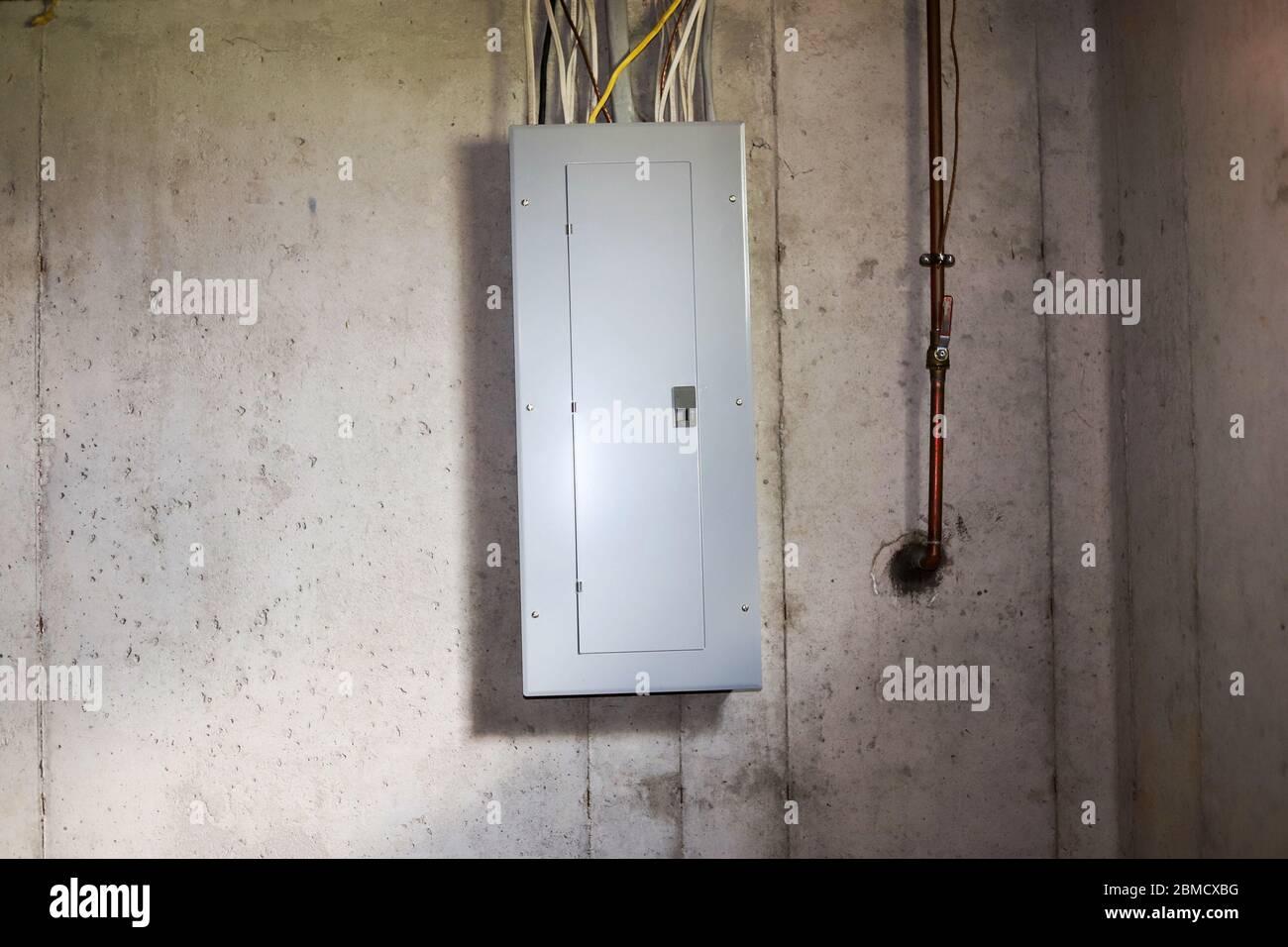 A fuse box in a basement Stock Photo - AlamyAlamy