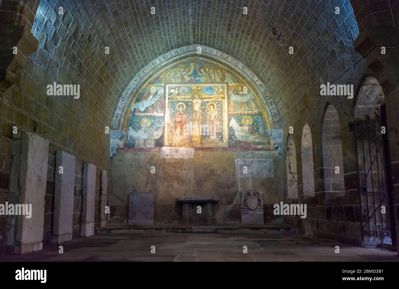 France, Le Puy-en-Velay, Notre-Dame Cathedral, a UNESCO World Heritage Site, The Cloisters, crucifixion fresco, circa early 13C Stock Photo