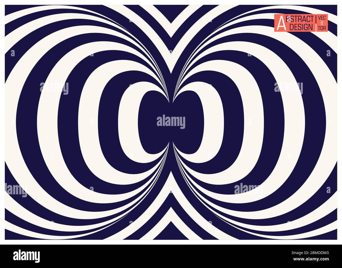 Two colors striped geometric optical illusion. Conceptual modern art illusion. Trendy vector illustration Stock Vector