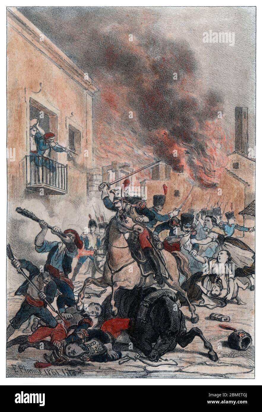 Guerra de la Independencia (1808-1814). Catalunya. Incendio y desastre en Arbós. Grabado de 1861. Author: Eusebi Planas Franquesa. Stock Photo