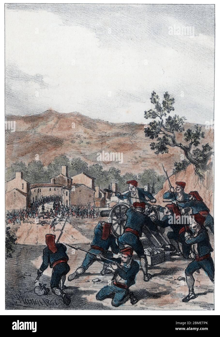 Guerra de la Independencia (1808-1814). Catalunya. Las tropas francesas derrotadas en el Bruc son hostigadas por los somatenes en Sant Feliu de Llobregat. Grabado de 1861. Author: Eusebi Planas Franquesa. Stock Photo