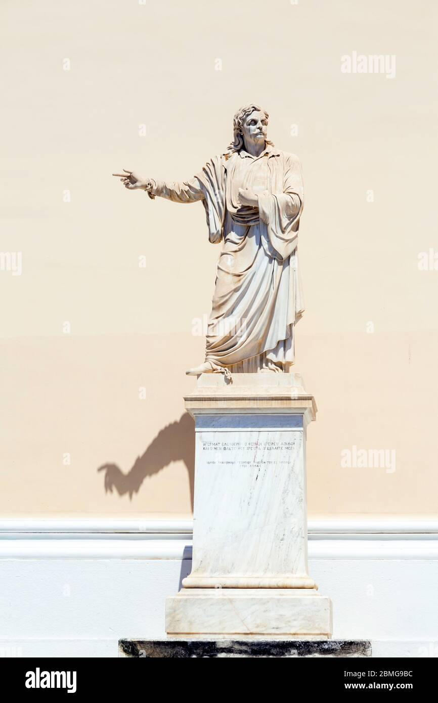 Statue of Greek independence hero Rigas Fereos, one of the most emblematic figures in the modern history of Greece. Stock Photo