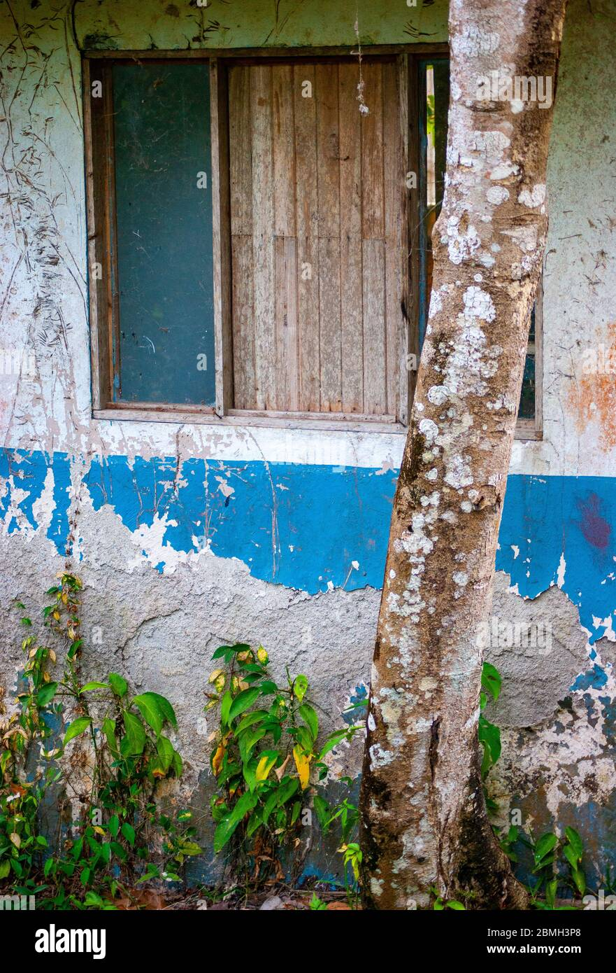 Derilict Blue Home Stock Photo