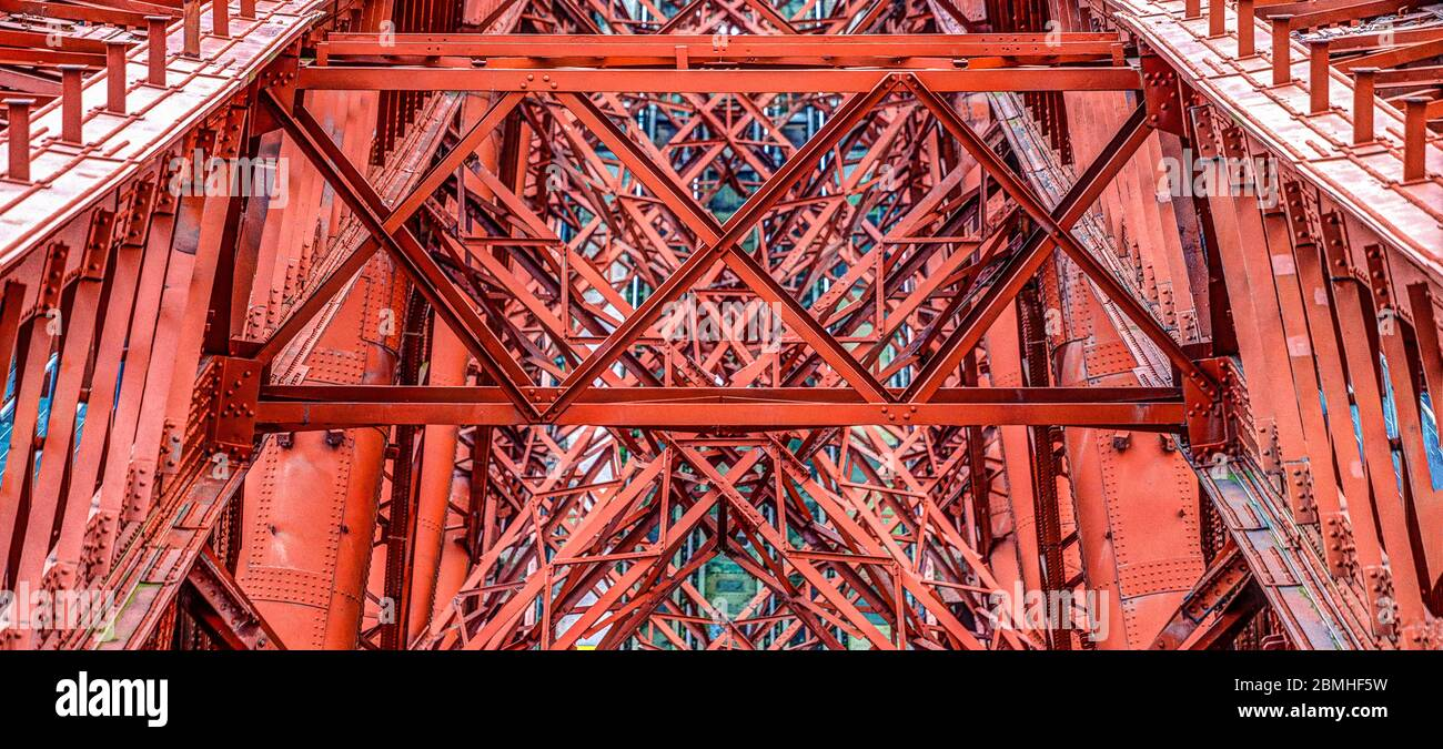The Bridges over the Forth at Queensferry crossing. The Forth Bridge - a railway bridge (1882) Stock Photo