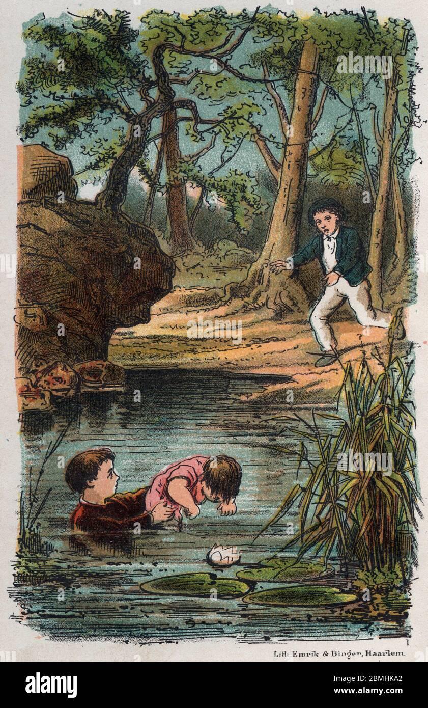 """""""Lucas un petit garcon de six ans sauve de la noyade un autre enfant"""" Illustration tiree de """"Lucas l'enfant courageux"""" in """"Les braves coeurs"""" de Morta Stock Photo"""