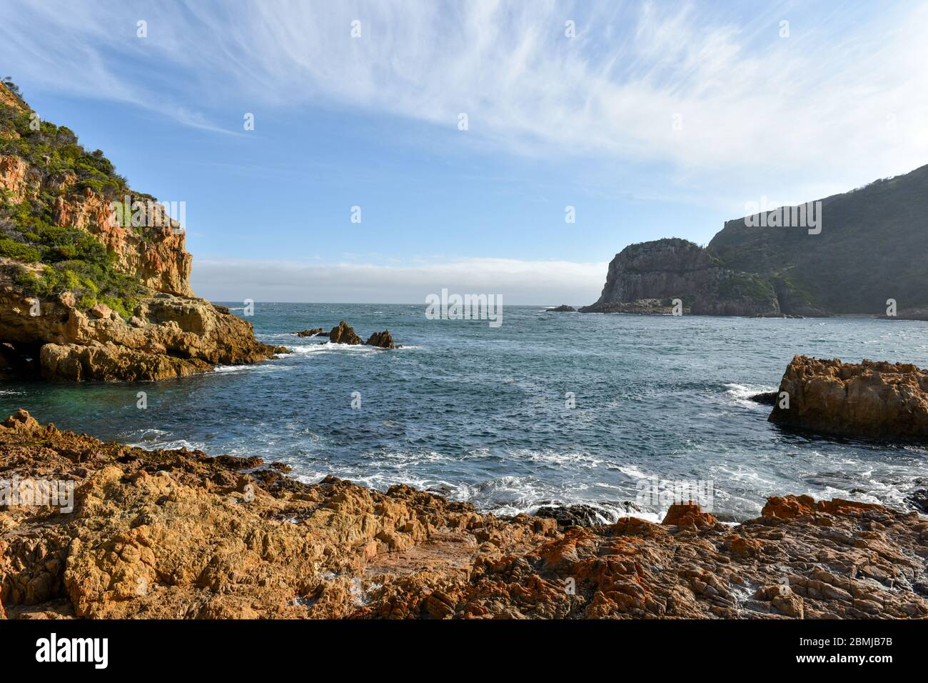 Knysna Heads is one of the top tourist attractions located on the Garden Route, South Africa Stock Photo