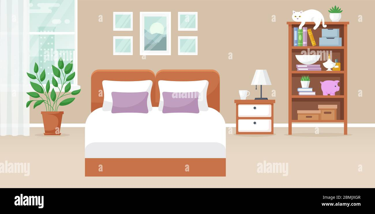 Bedroom Interior Vector Design Of A Cozy Room With Double Bed Bedside Table Window Bookcase Decor Accessories And Cat Home Horizontal Banner Stock Vector Image Art Alamy