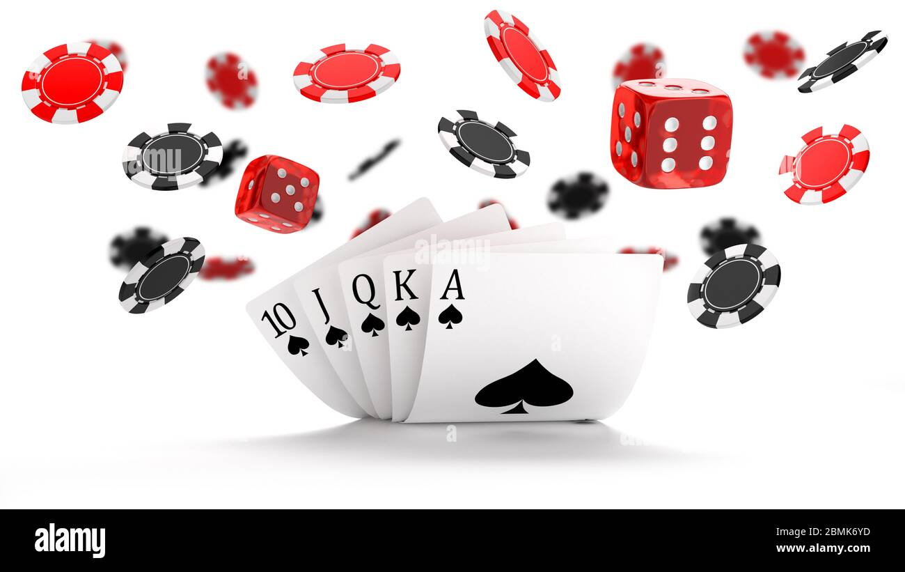 Casino background with Royal Flush hand combination, dice and flying black and red chips Stock Photo