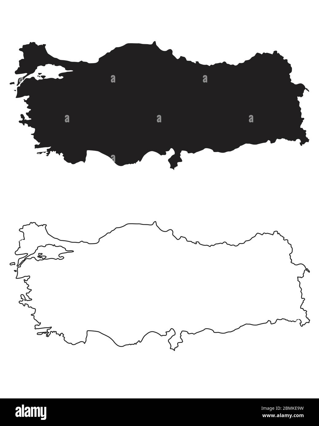 Turkey Country Map. Black silhouette and outline isolated on white background. EPS Vector Stock Vector