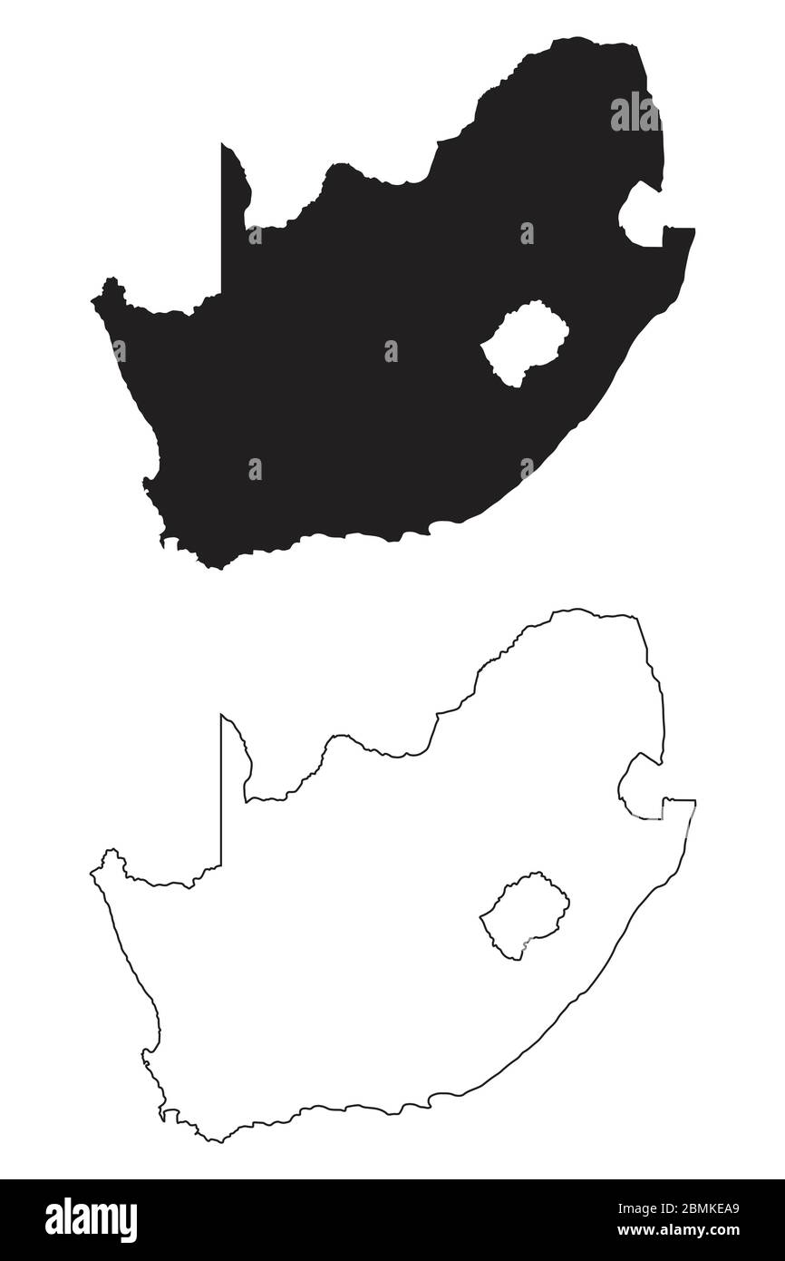 Picture of: South Africa Country Map Black Silhouette And Outline Isolated On White Background Eps Vector Stock Vector Image Art Alamy