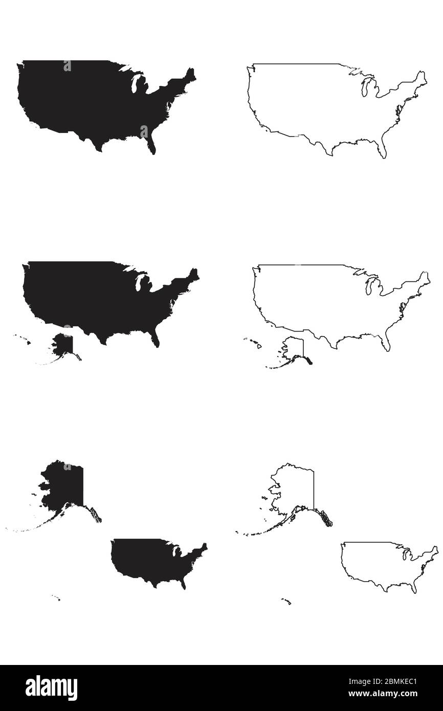 United States of America USA Country Map. Black silhouette and outline isolated on white background. EPS Vector Stock Vector
