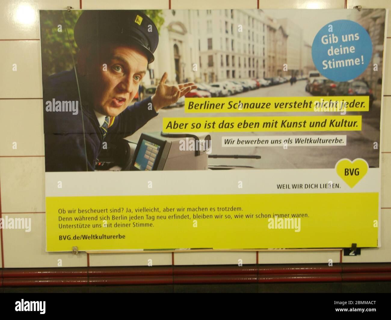 Die BVG bewirbt sich um eine Auszeichnung als Weltkulturerbe Stock Photo