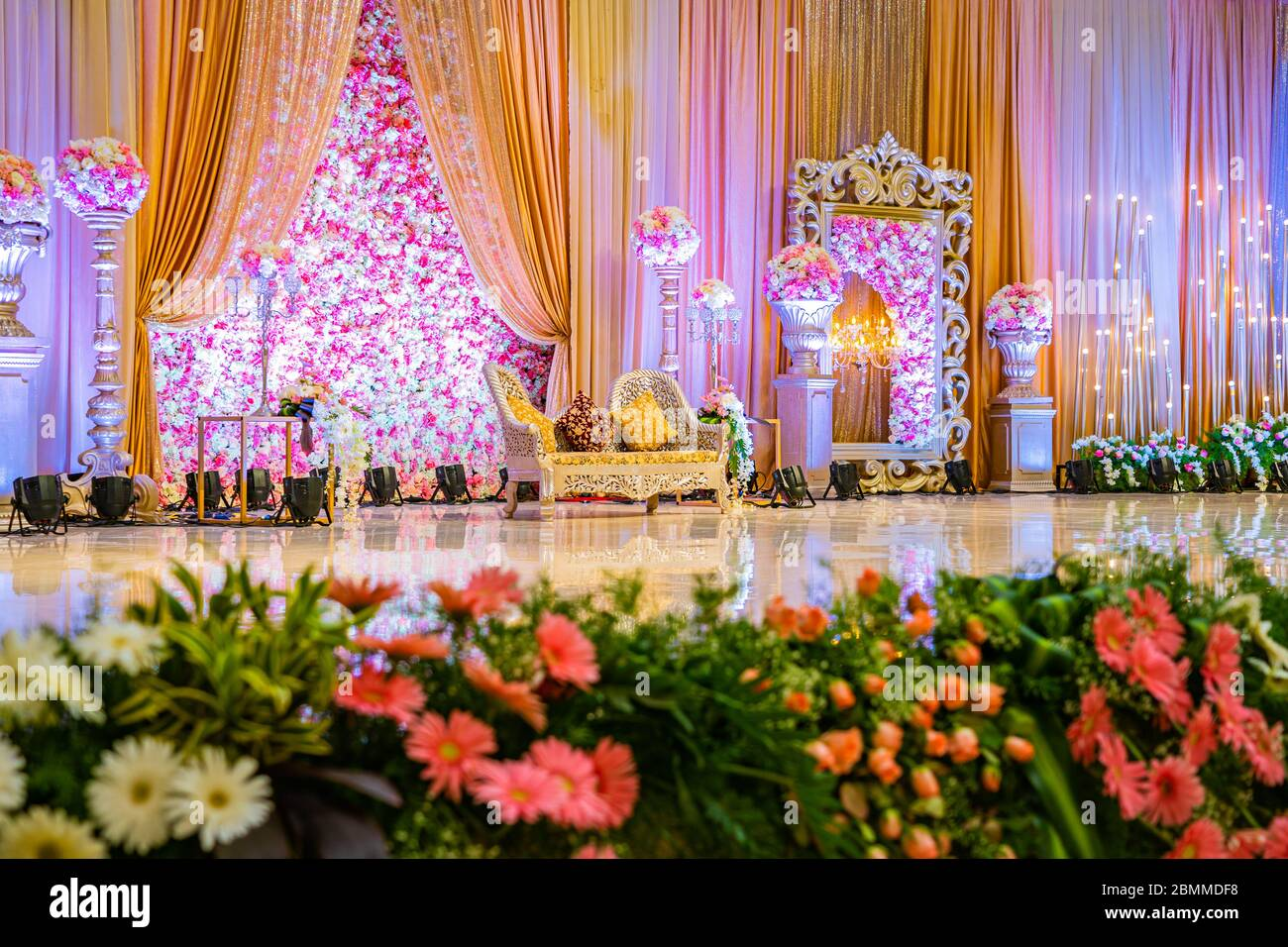 Beautiful decoration of the wedding stage at GPN Palace. Stock Photo