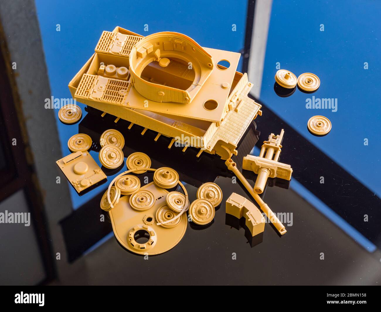 Unassembled plastic model kit Tiger in parts scale 1/35 German ww2 heavy tank armor Stock Photo