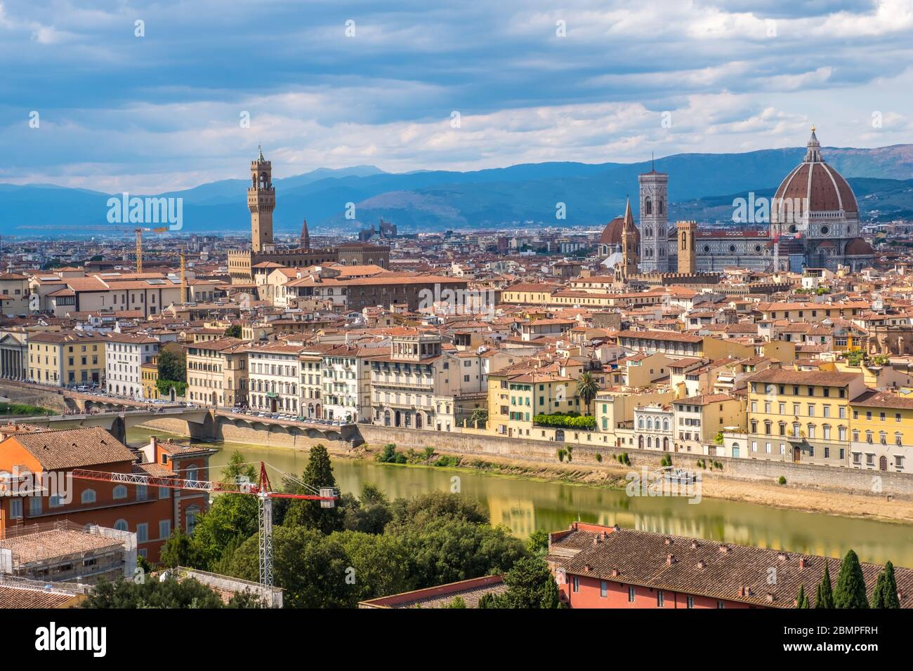 Florence, Italy - August 16, 2019: View of Florence Skyline with Ponte Vecchio and Santa Maria del Fiore Duomo, Tuscany, Italy Stock Photo