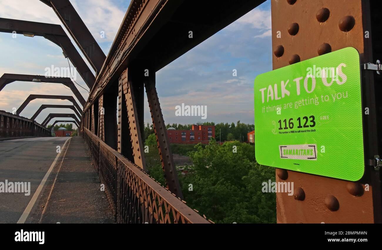 Talk to us campaign, The Samaritans, Cantilever bridge, Latchford , Warrington, Cheshire, England, UK Stock Photo