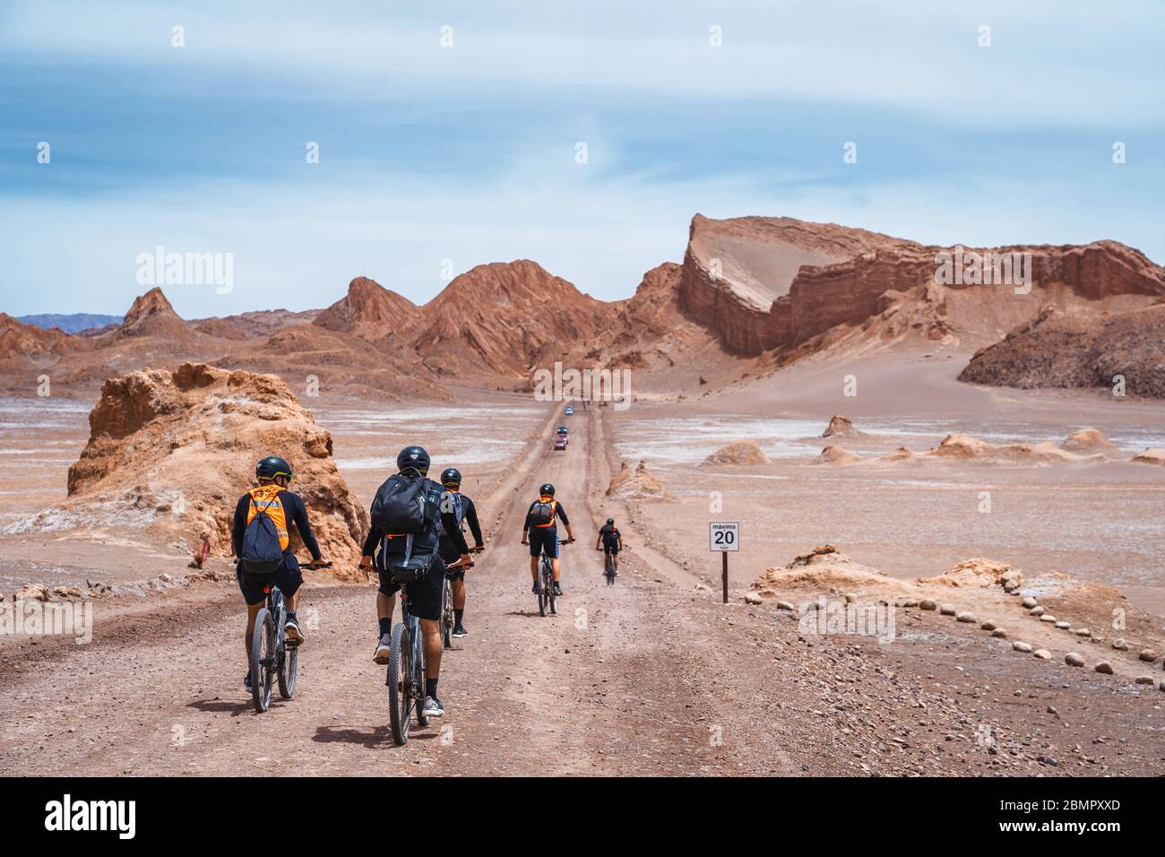 Group Of Cyclists Exploring The Moon Valley Spanish Valle De La Luna In The Atacama Desert Northern Chile South America Stock Photo Alamy
