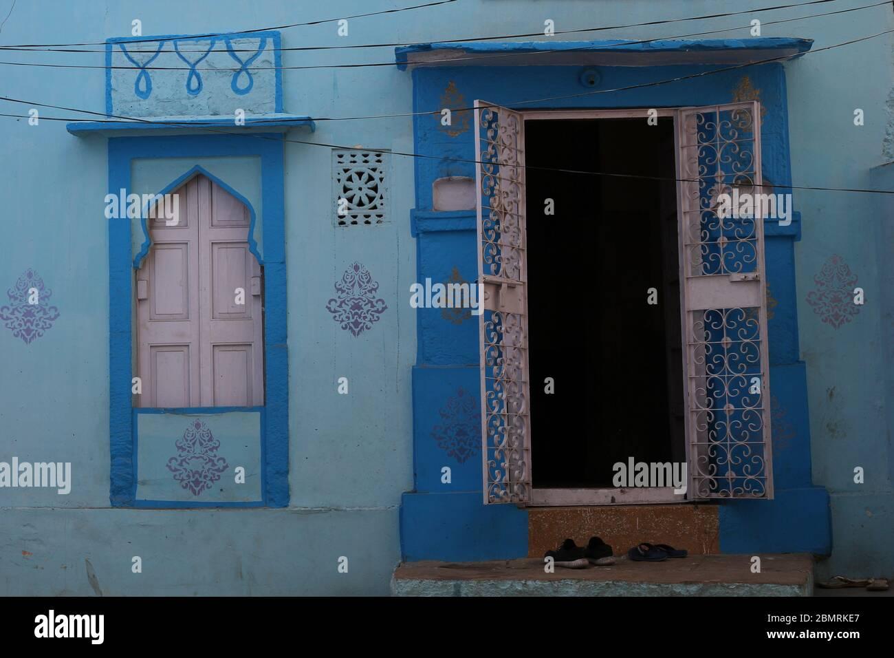 Jodhpur, nostalgia facade in the blue city, Rajasthan, India Stock Photo