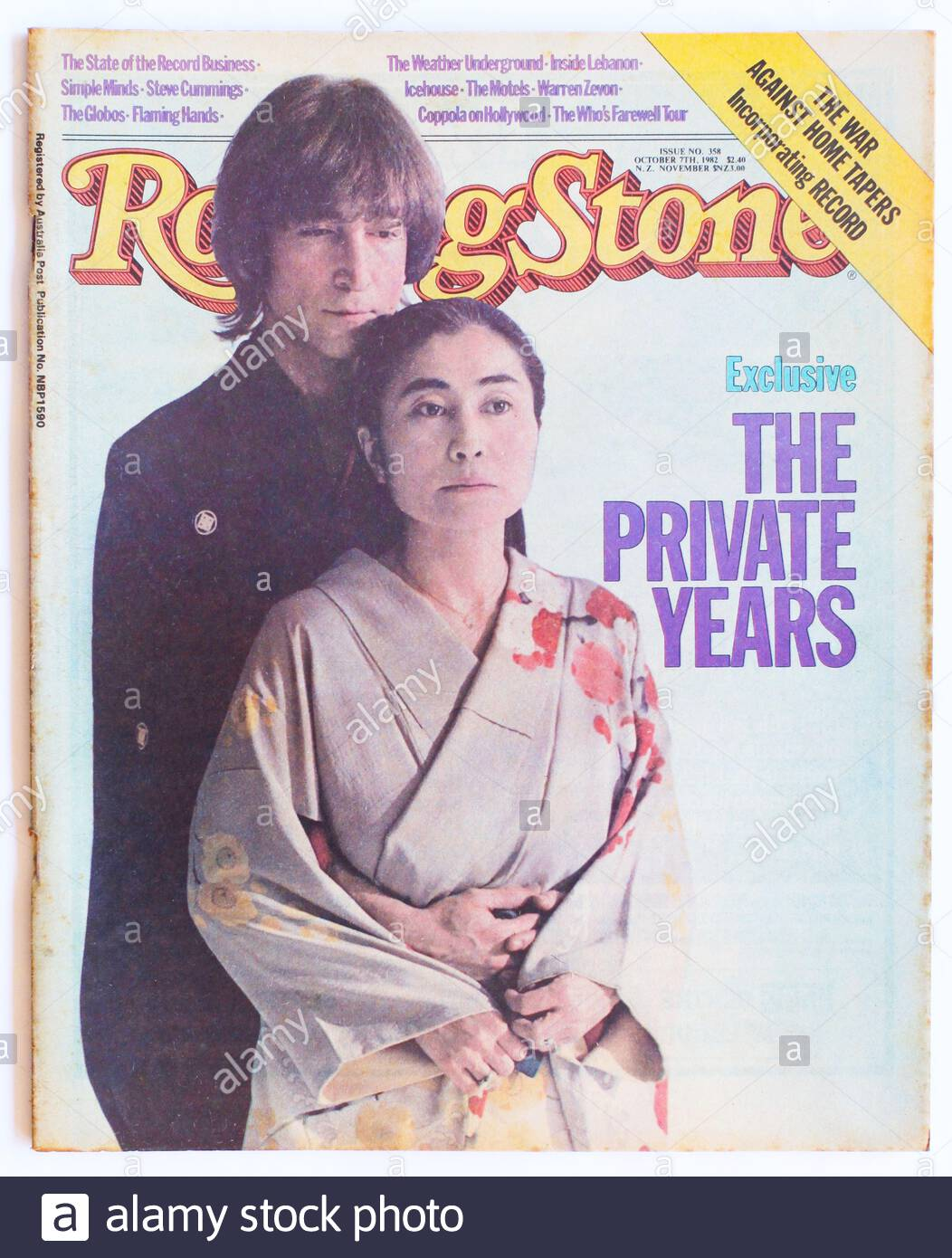 The Cover Of Rolling Stone Magazine Issue 358 October 1982 Featuring John Lennon And Yoko Ono Stock Photo Alamy