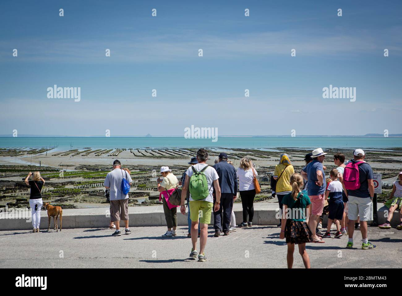 Oyster farm in low tide in the village of Cancale, Bretagne, France. People are watching from land. Stock Photo