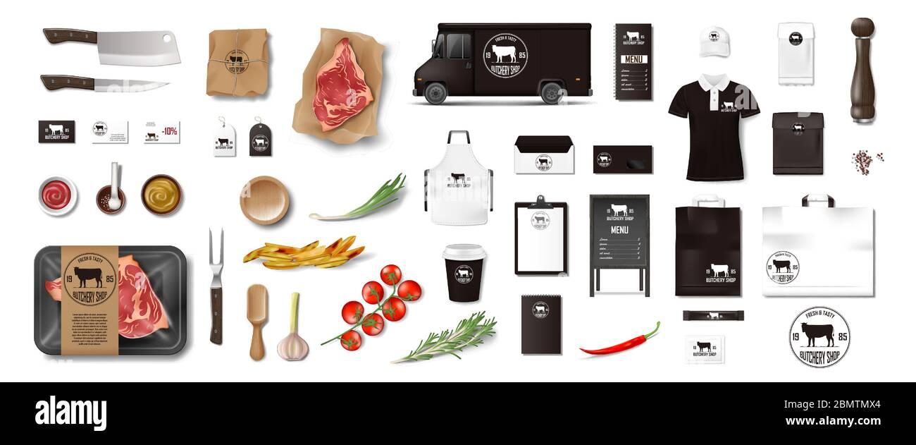 Variety of food in the butcher shop. Restaurant Brand Identity mockup set isolated. Branding packaging elements for meat shop, cafe or steak house Stock Vector