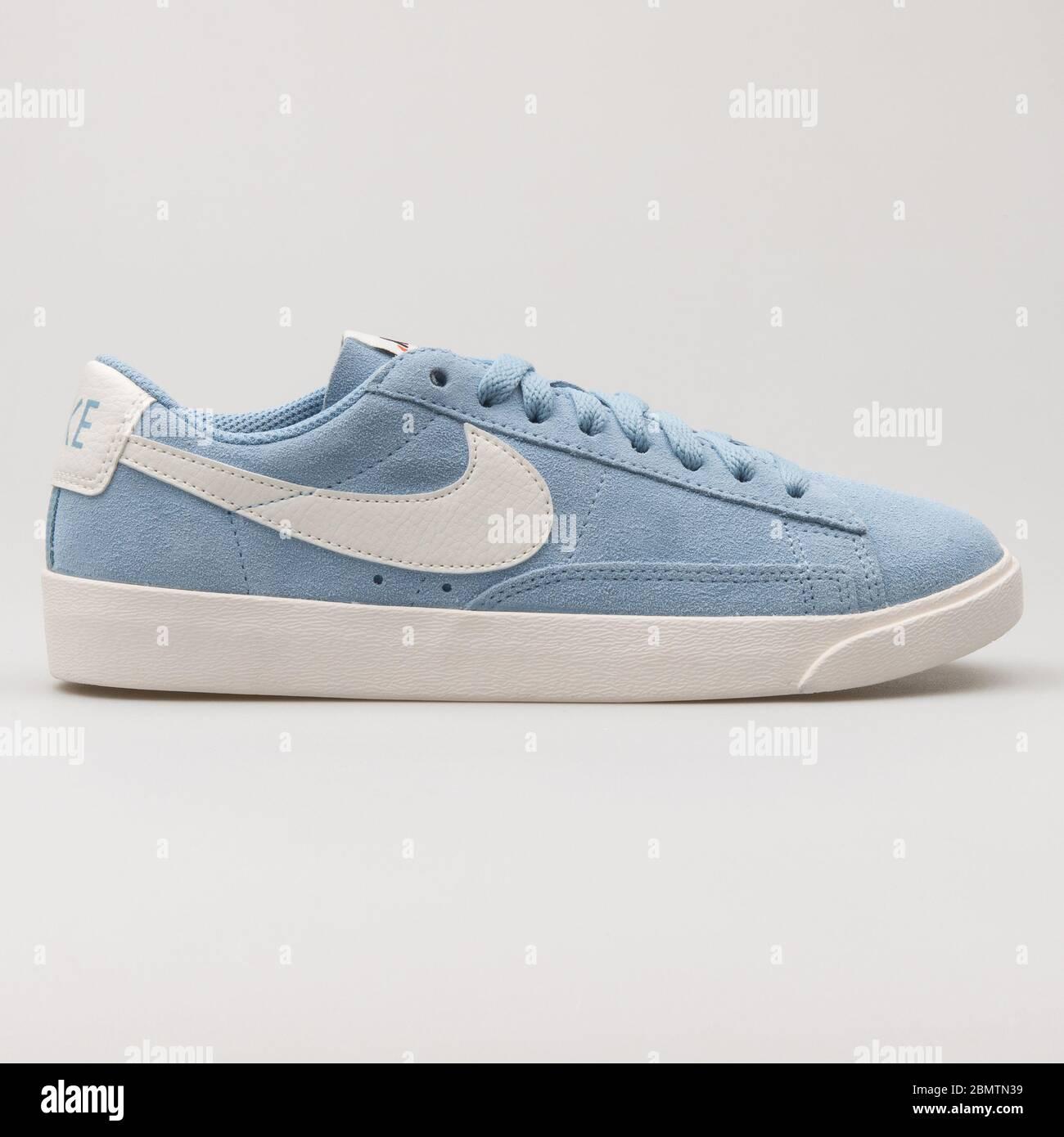 Terrible Debilidad enfermero  VIENNA, AUSTRIA - FEBRUARY 19, 2018: Nike Blazer Low Suede light blue and  white sneaker on white background Stock Photo - Alamy