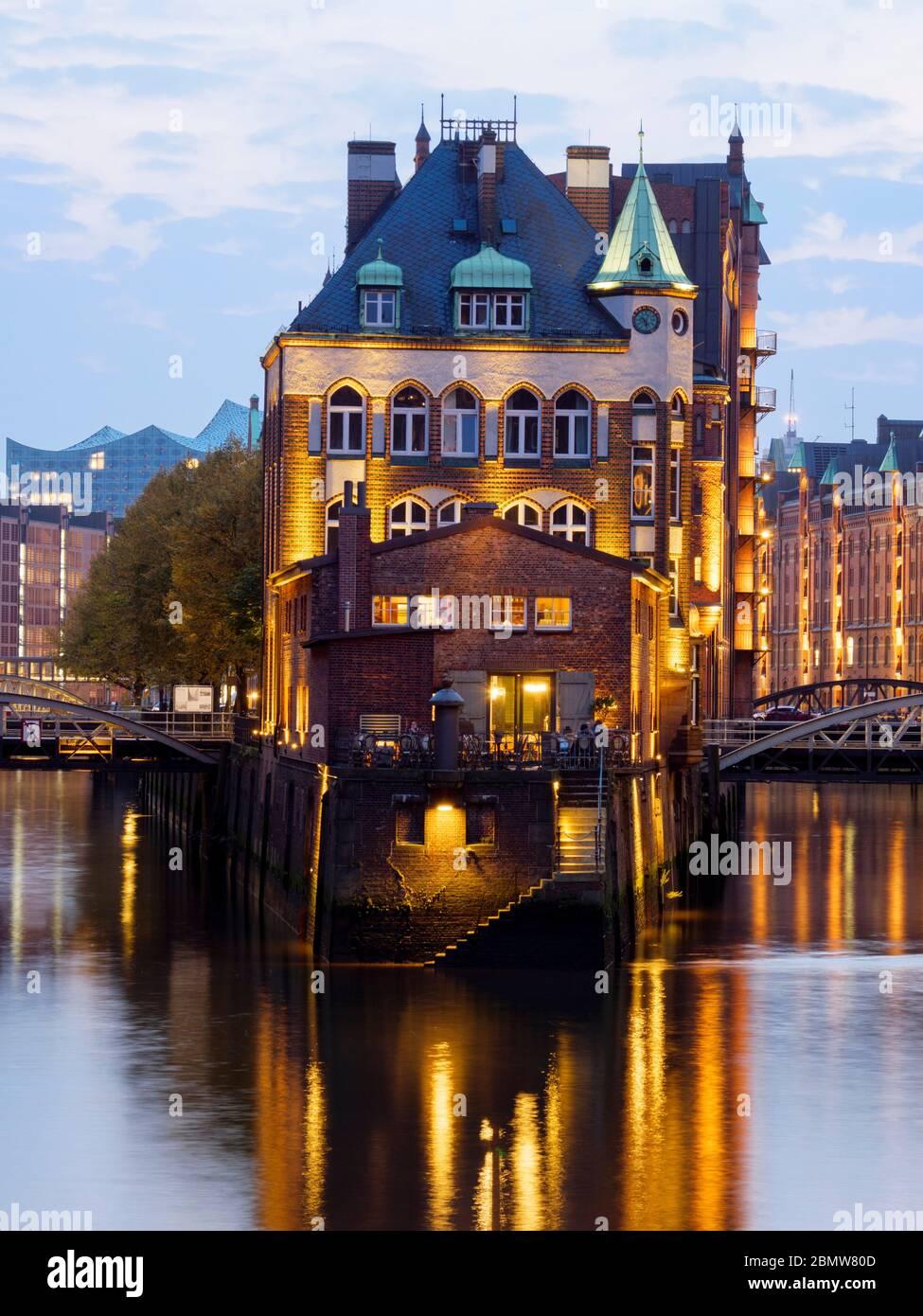 Speicherstadt, Dämmerung, UNESCO Welterbe, Hamburg, Deutschland Stock Photo