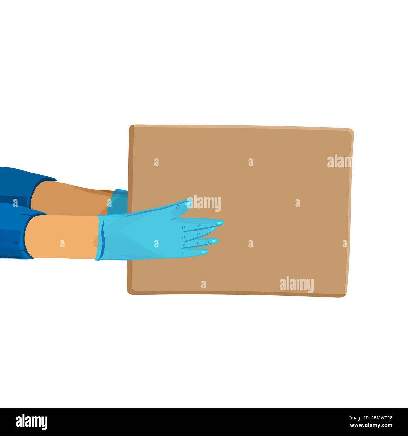 Safe delivery vector cartoon banner for Save Delivery Services and E-Commerce during covid quarantine. Hands in gloves giving a parcel. Stock Vector