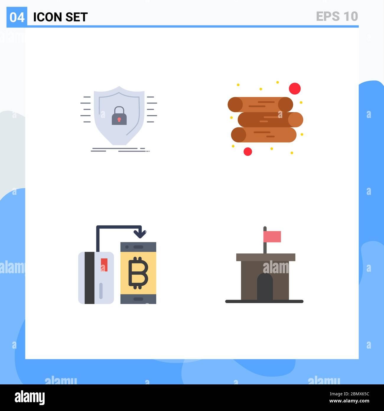 Group Of 4 Modern Flat Icons Set For Defence Currency Safety Log Money Editable Vector Design Elements Stock Vector Image Art Alamy