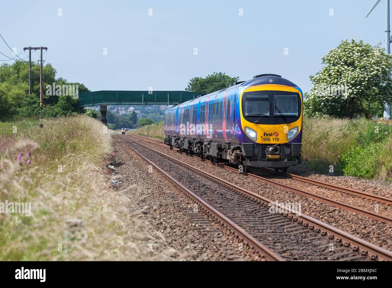 First Transpennine Express Siemens Desiro class 185  train 185119 passing Horwich, Lancashire Stock Photo