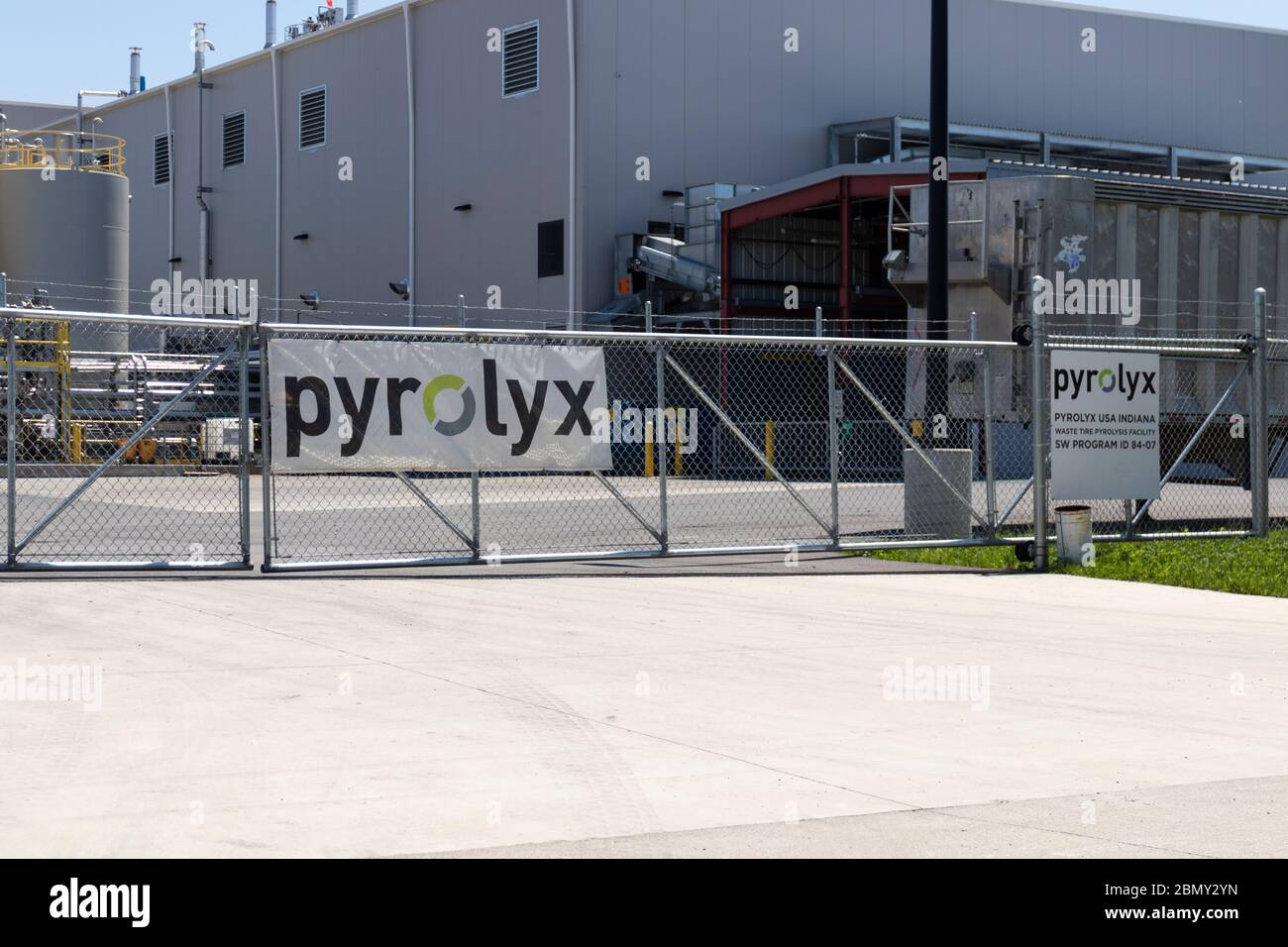 Terre Haute - Circa May 2020: Pyrolyx rCB plant. Pyrolyx has developed a specialized process that transforms waste tires into carbon black. Stock Photo