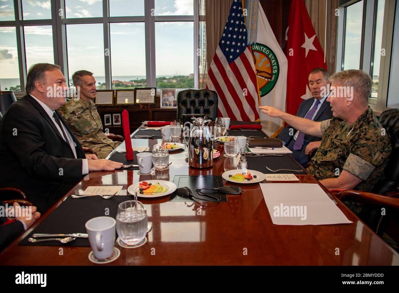 Secretary Pompeo Attends a Working Breakfast  With CENTCOM & SOCOM Commanders U.S. Secretary of State Michael R. Pompeo attends a working breakfast at the United States Central Command and the United States Special Operations Command at MacDill Air Force Base in Tampa, Florida, June 18, 2019. Stock Photo